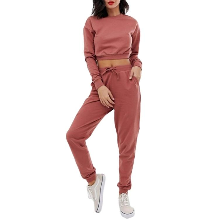 costom women plus size Crop top and joggers set blank track suit 2 piece jogger set for women