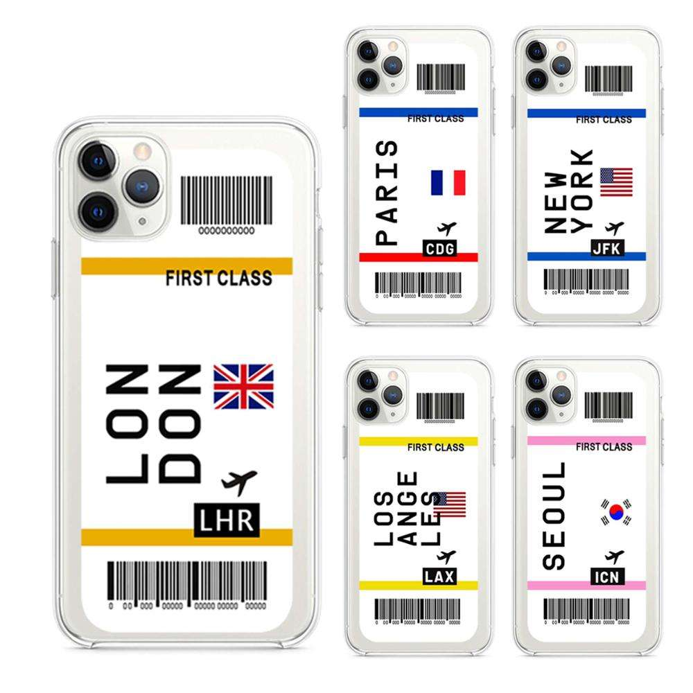 for iphone 11 transparent hybrid case airplane ticket label,for iphone 12 pro kuwait world ticket case