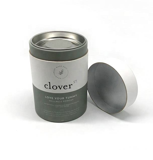 Custom Metal Lid Cardboard Canister Can Cylinder Biodegradable Gift Paper Tube For Loose Leaf Tea Coffee Packaging