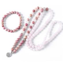 Natural Healing beads Necklace & bracelets Jewelry Set For Women Rhodochrosite Bracelet 108 Beads Pink Jewelry