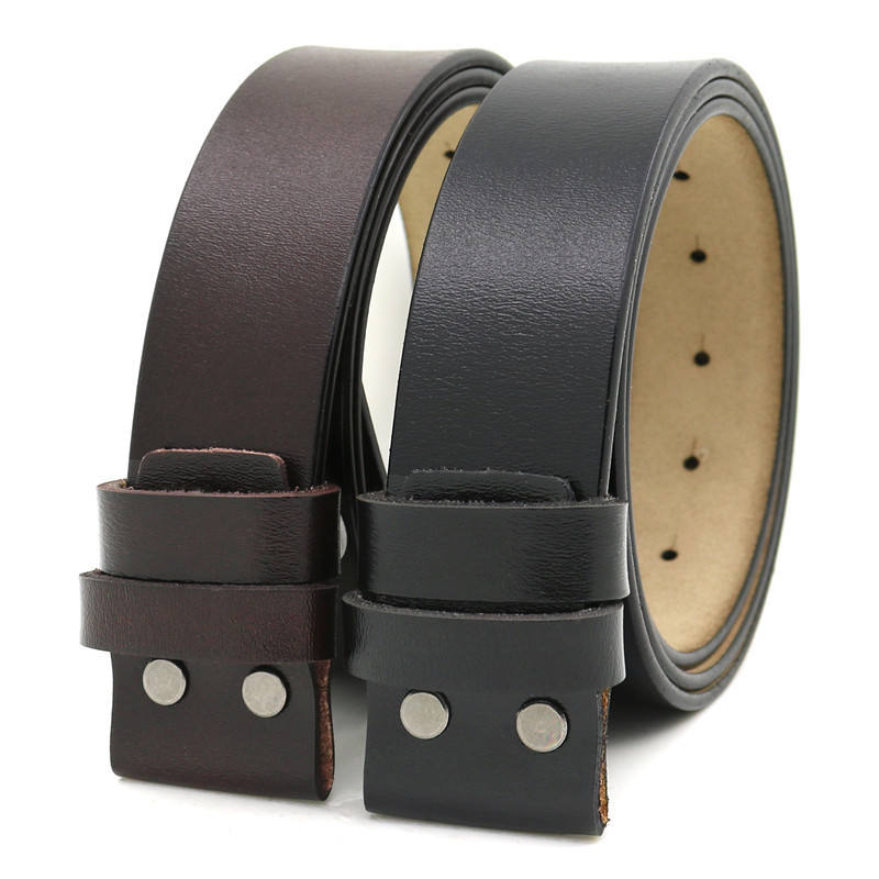 100% Pure Leather Belt Strap 3.8CM Pin Buckle Belt With Accessories Cowhide Belt Holes no buckles LQbelt Factory OEM