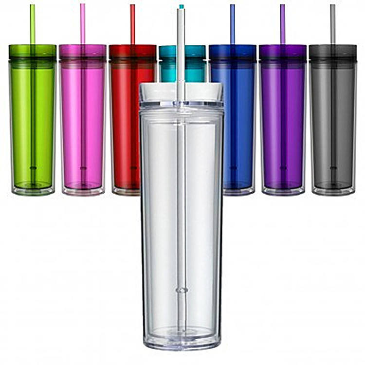 16 oz eco-friendly double wall plastic cup with lid and straw Reusable temperature plastic cup