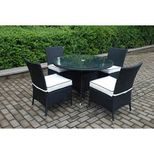 Factory Price Rattan Wicker Furniture 5 PCS Outdoor Dining Set Round Table and Chair Set