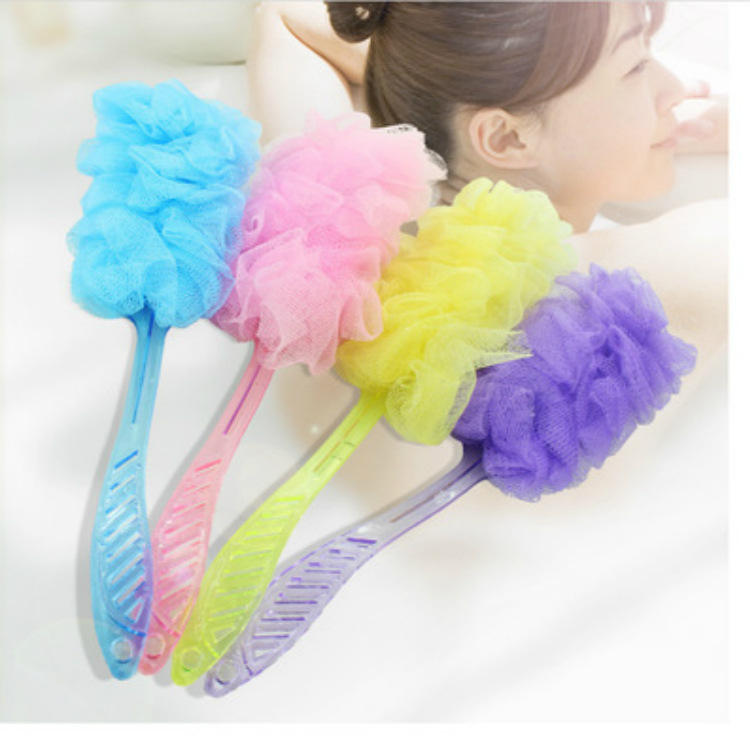 S851 Large Mesh & Lace Trim Shower Sponge Exfoliating Cleanse Soothe Skin Bath Pouf Loofah Luffa Mesh Body Scrubber body sponge