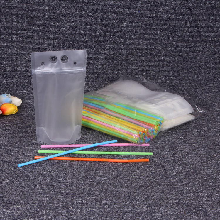 translucent reclosable hand held zipper plastic drinking bags clear juice drink pouches with straws