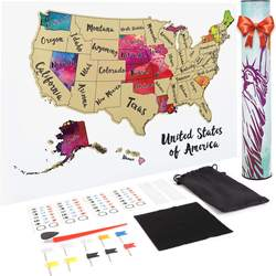 DDP Available ZORAS 2020 Amazon Best Seller Products Creative Oem Design United States Of America Scratch Maps With Gold Foil
