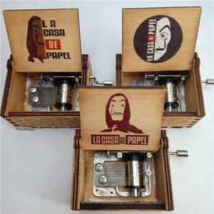 Color Printing Hand Crank Engraved Bella Ciao Music Box La Casa De