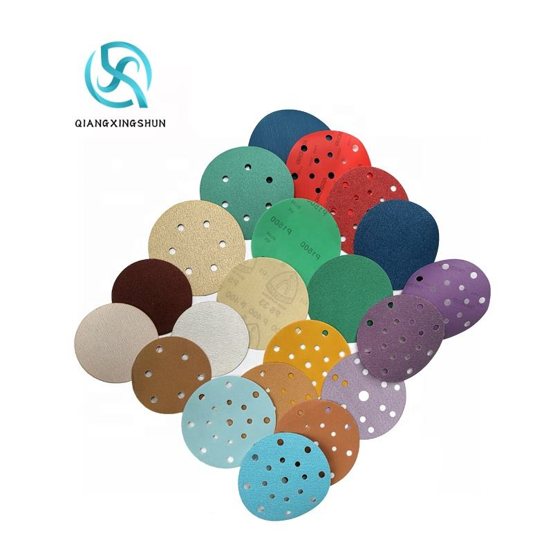 Factory Supplied Free Sample 150mm Film backing Aluminum Oxide Sandpaper Making Abrasive Round Sanding Film Disc