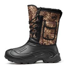 Times New Roman Men Boots Camouflage Snow Boots  Thick Plush Waterproof Lace Up Winter Shoes Plus Size