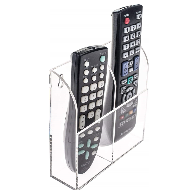 glamdisplay Clear Acrylic Remote Control Holder Wall Mount 1, 2 & 3 Holder Options (2 Remotes, 1 Pack)