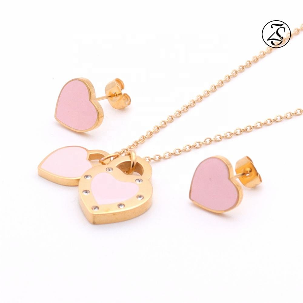 Pink Stone Cz Shinny Necklace Women18K Heart Shaped Stainless Steel Gold Plated Bridal Jewellery Fancy Necklace Set