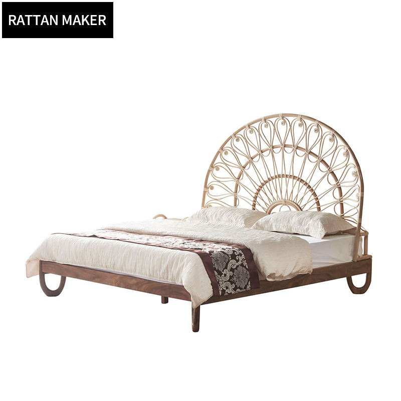 Southeast Asia rattan art bed South American Walnut double bed hotel apartment guest room bed