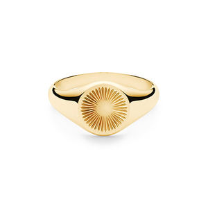 925 sterling silver gold plated sun signet ring Engraved stamp Ring for men or women