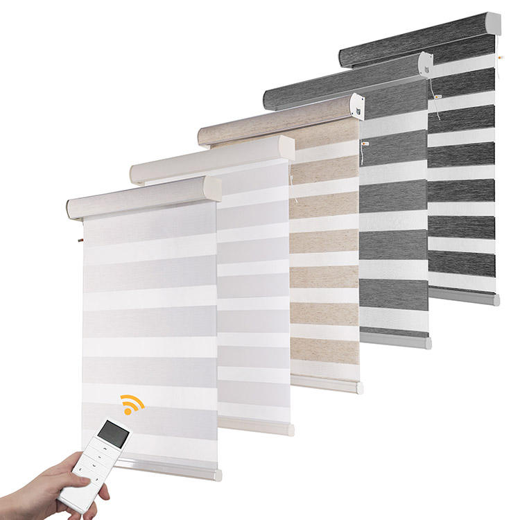 supplier wholesale day night double layer korean horizontal custom made electric motorized zebra blinds