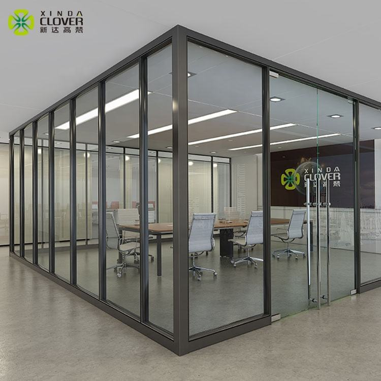 Aluminium frame double or single tempered clear glass living room sound proof office glass wall partition systems