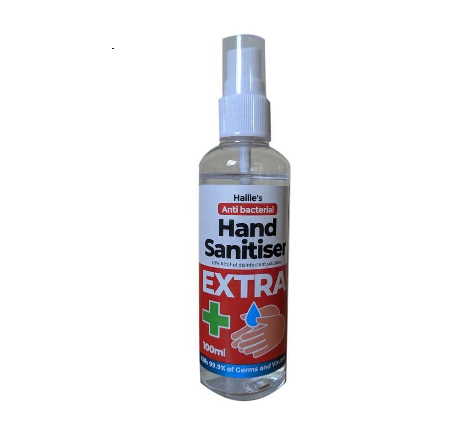 100ml 80% alcohol effective anti bacterial hand wash in spray bottle