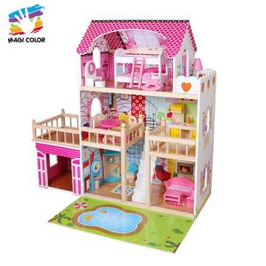 Ready To Ship 3 floors lighted kids wooden dollhouse with pool W06A333C