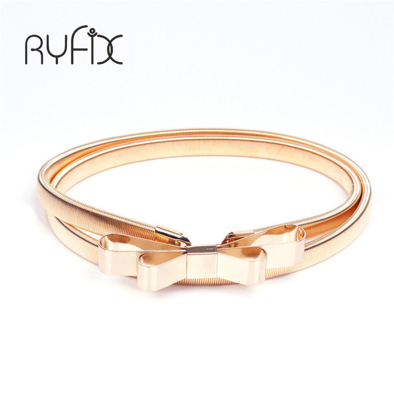 New fashion design gold silver bowknot decoration bow thin elastic women metal belt