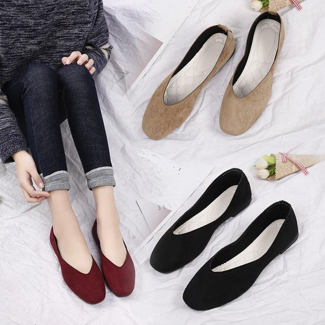 autumn and winter new flat shoes lazy shoes square head women's retro single shoes