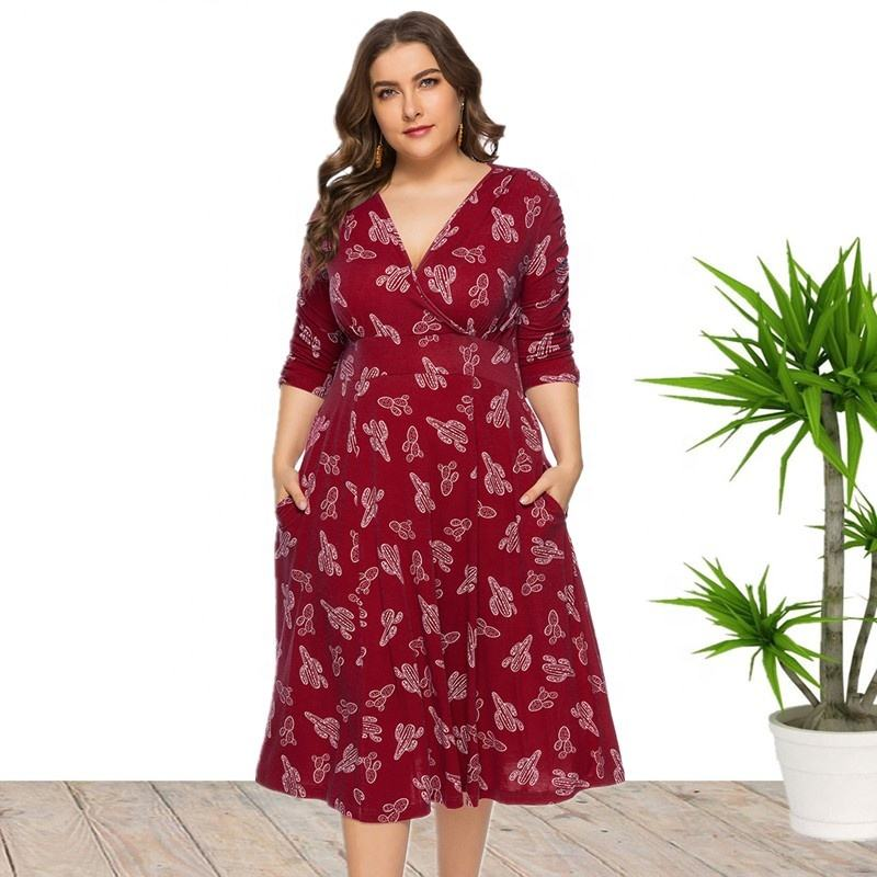 4XL 5XL 6XL Plus Size Maxi Long Floral Print Casual Summer Dress For Women Wholesale China