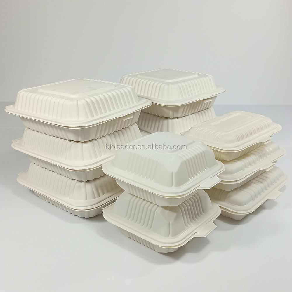 Disposable Biodegradable plastic cornstarch box corn starch bento clamshell lunch box