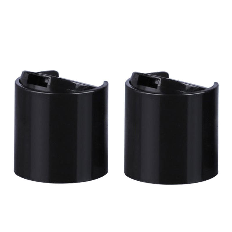 Black plastic press cap dispensing smooth disc top closures replacement caps for squeeze bottles