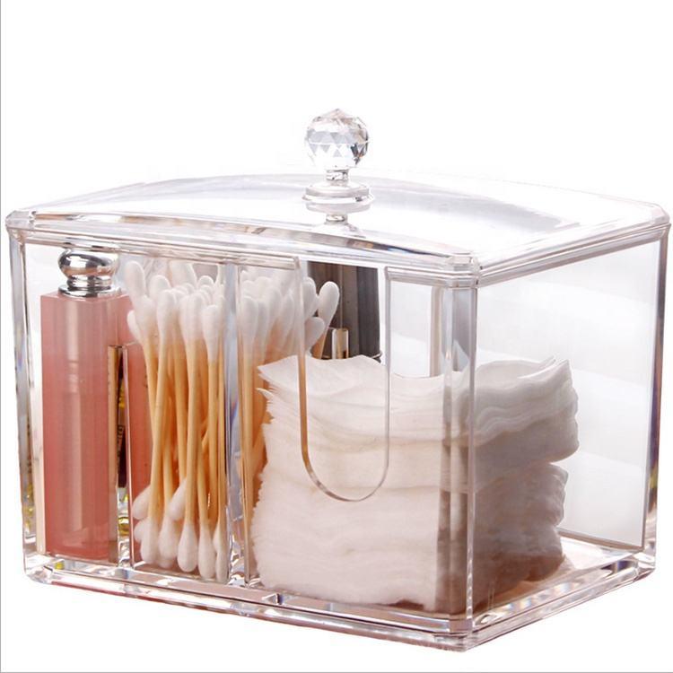 Пластик макияж хлопок <span class=keywords><strong>держатель</strong></span>, ватный тампон акриловый макияж коробка для хранения ванная комната и тщеславия