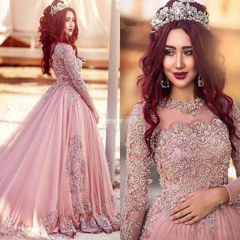 Arabic Pink Prom Dresses Long Sleeves Lace Beading Evening Dresses Party Wear