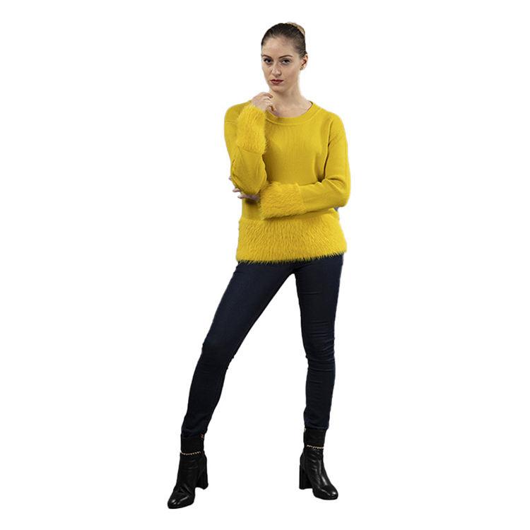 Primavera de las mujeres con cuello en V y manga larga amarillo empalme Pullover suéter de cachemira