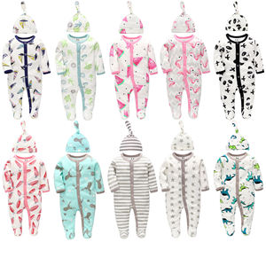 Factory Wholesale Baby Romper With Hat Printed Baby Clothes Pajamas Set Newborn Baby Clothes