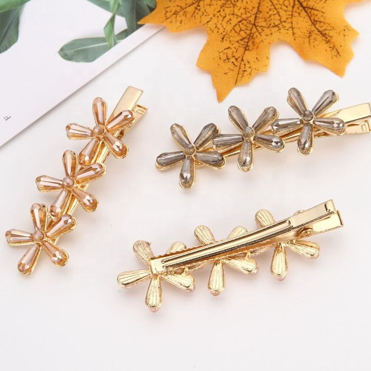 Customize Korean Fashion Wholesale Top Quality Crystal bling diamond rhinestone duckbill pins Hairpins For Girls
