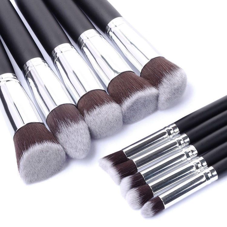 Private Label 10pcs Soft Vegan Kabuki Face Makeup Brush Set Flat Top Foundation Eye Make Up Brushes Tool Wholesale