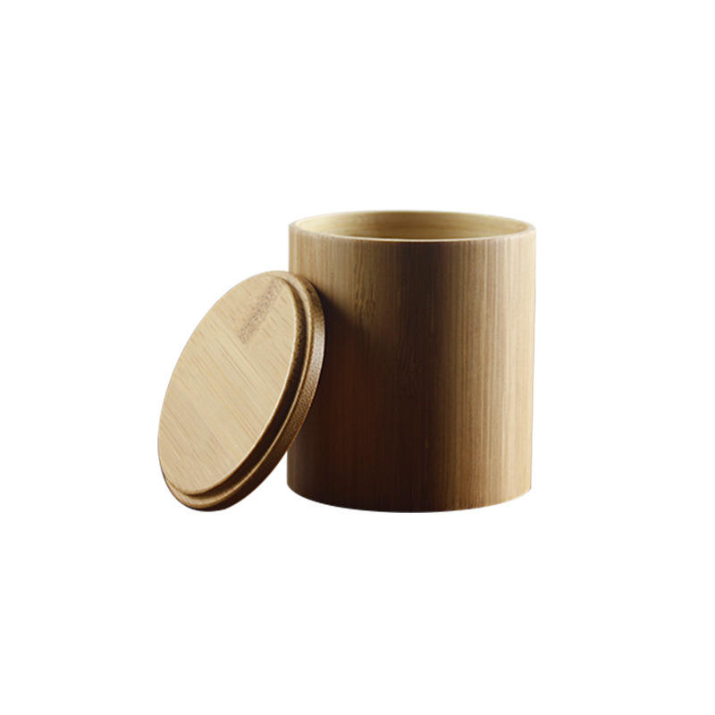Heyco factory custom wholesale bulk small bamboo wood tea cylinder packaging box with lid