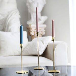 Ins simple dining table wedding alloy luxury decoration European style Dinner candlestick European candle light golden