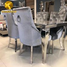 Restaurant furniture home factory dining table set modern metal dining tables with 6 chairs for sale DT002