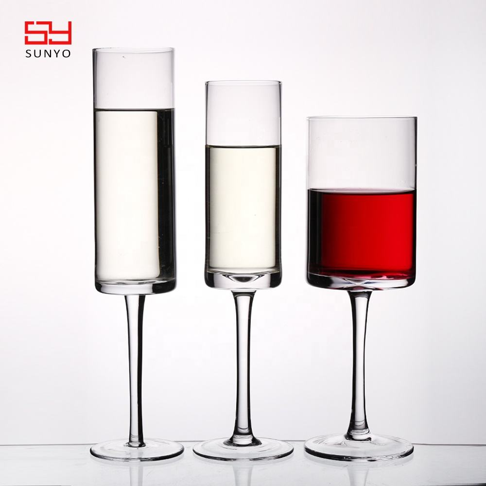 2020 Amazon Hot Selling Customized clear graceful special square edged cylinder red wine glass