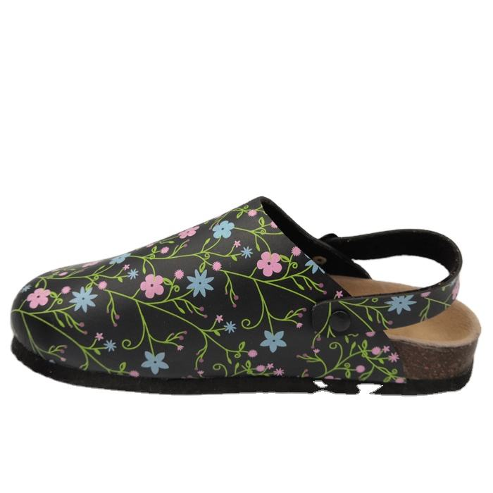 Trendy fashion oem brand designer pink flowers custom printed slip on cork clogs pu women slipper for beach