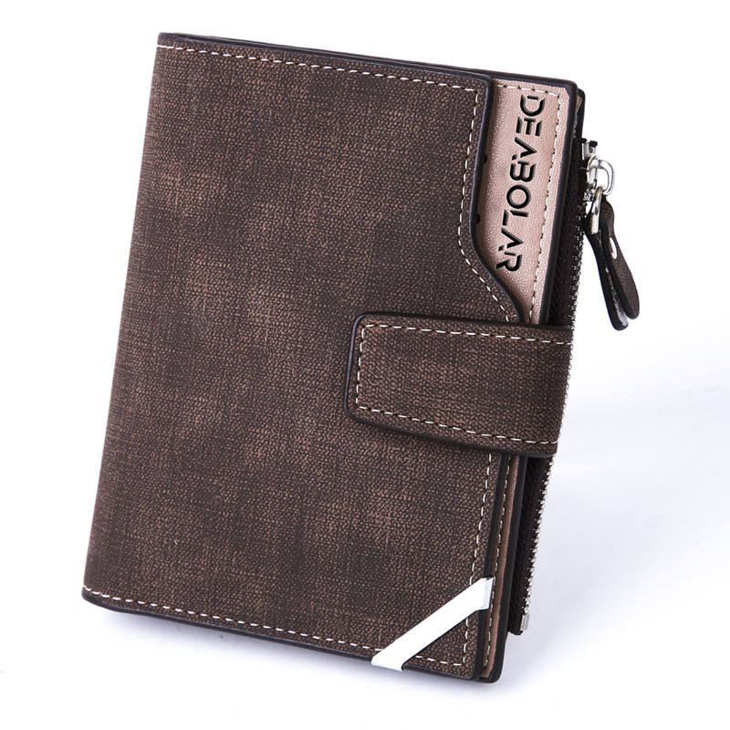2019 new design men's wallet vintage canvas pattern wallet pu leather card package coin wallet