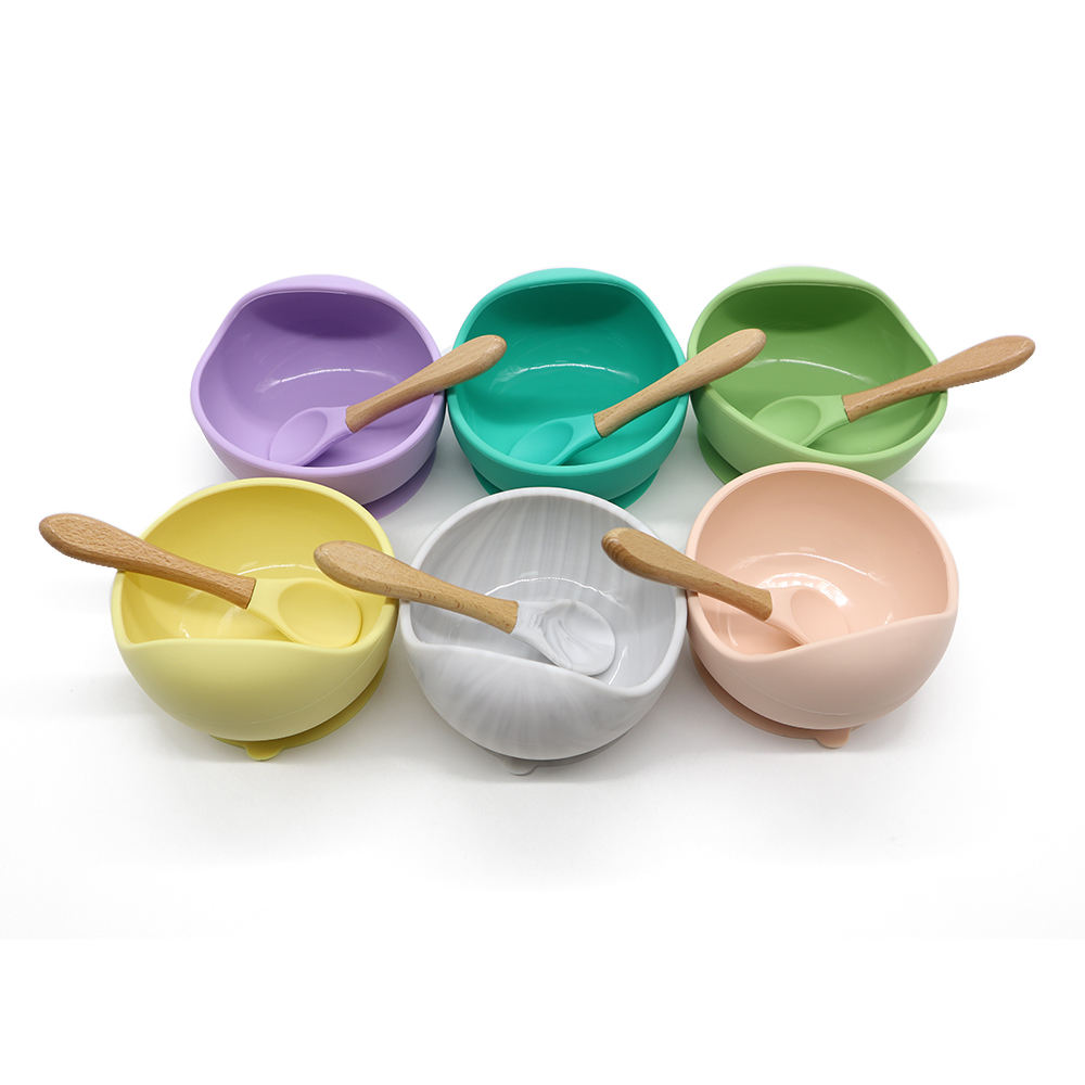 Soft Suction Food Grade Silicone Baby Bowl and Spoon for Kids
