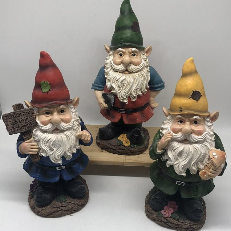 Wholesale handpainted popular resin gnome figures for garden decoration ornament
