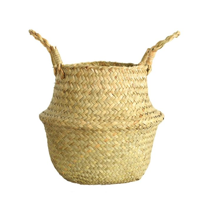 Foldable Woven Natural Seagrass Basket With Handles For Gardening, Flower Stands Pot, Storage Baskets