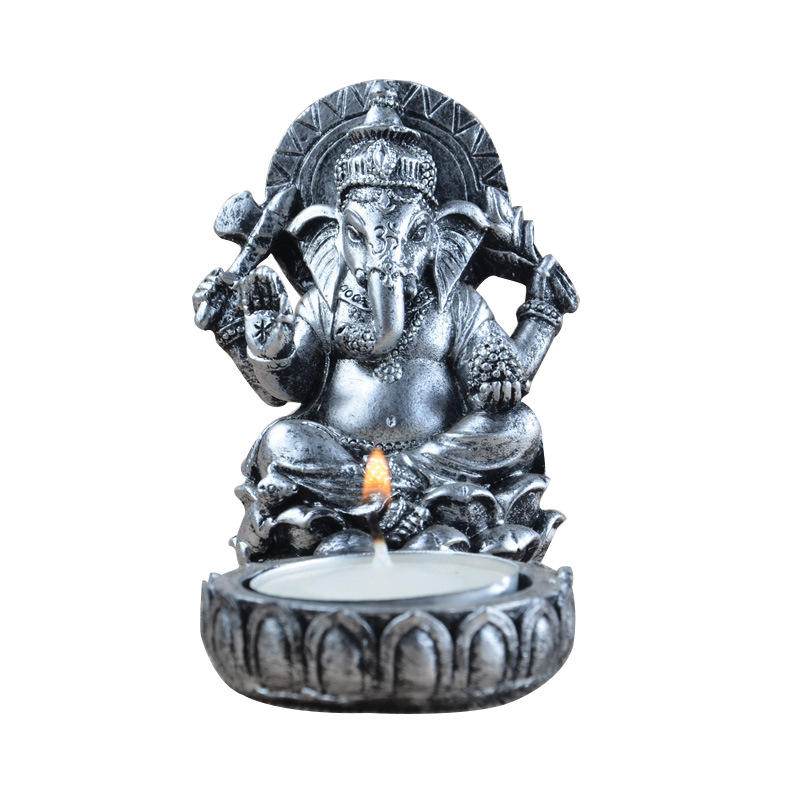 Thai Elephant Head God Monastery Temple Buddhist Crafts Resin Candlestick Home Decor Ganesha Mascot Decoration