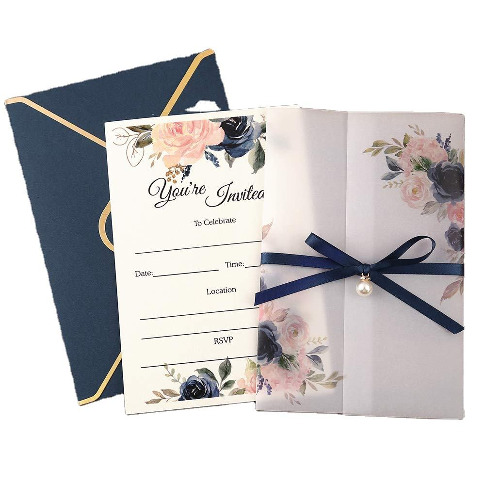 Myway wholesale custom Vase Flowers Blue desig price fashion marriage wedding invitation cards luxury