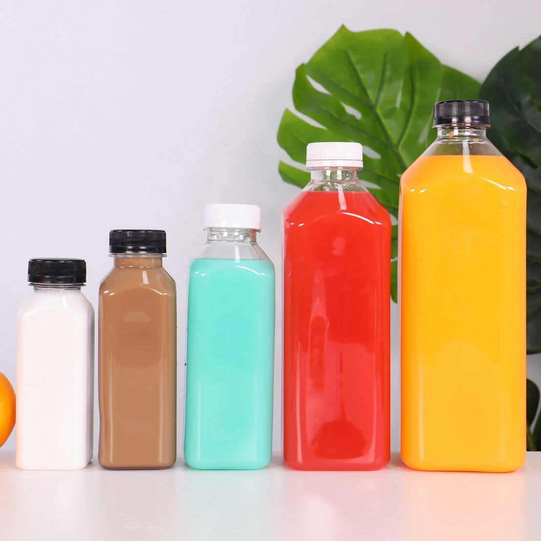 Food graded 250ml 350ml 500ml 1000ml 1500ml clear french square empty pet plastic juice bottles