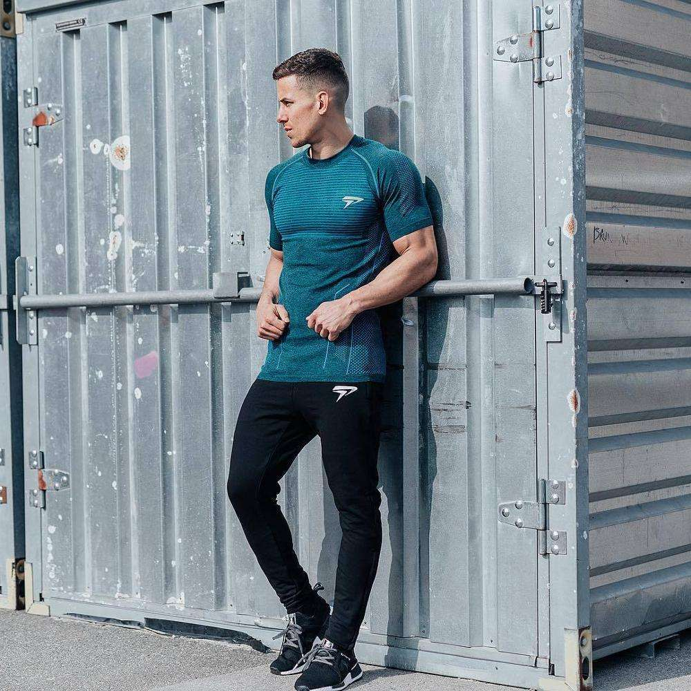 Wholesale Nylon Spandex Male Workout Shirts High Quality Fitness Sport Wears Gym Men Shirt Custom