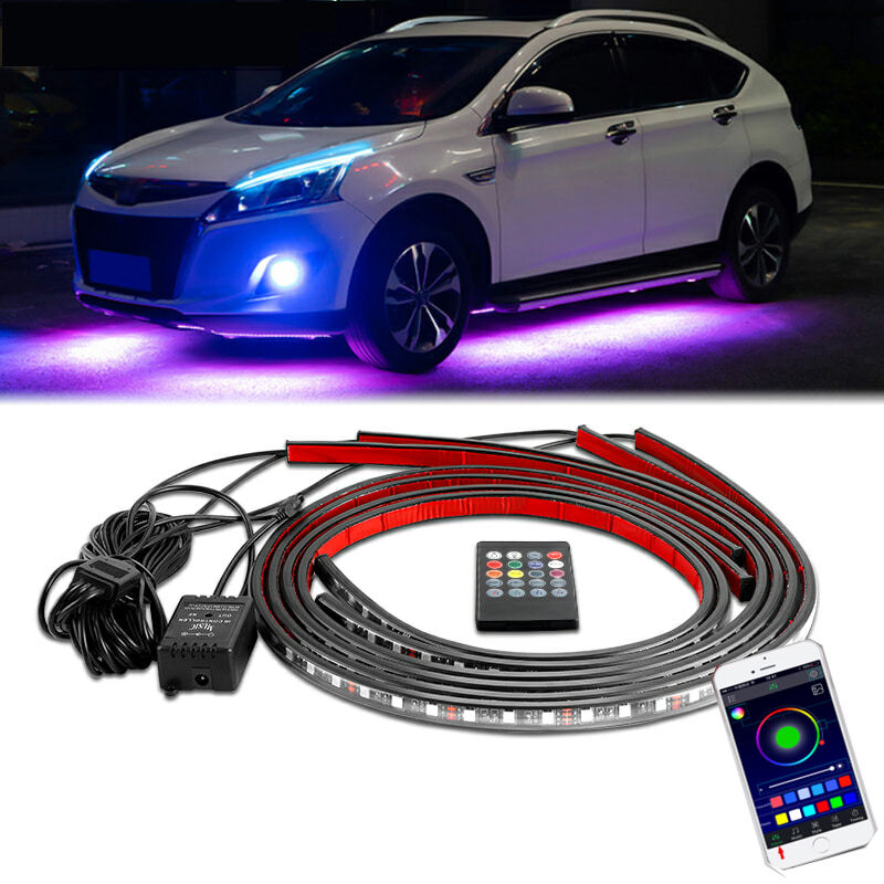 App Control RGB car LED Strip light Under Car 60 90 120cm Tube Underglow Underbody System Neon Light