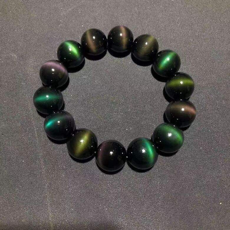 Wholesale natural first-line cat eye color yao Shi round beads bracelet