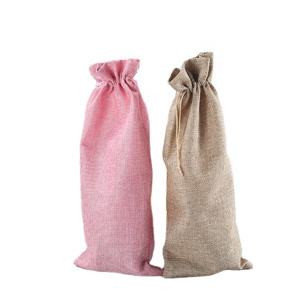 Hot sale reusable laminated linen drawstring wine bag good quality logo gifts bag