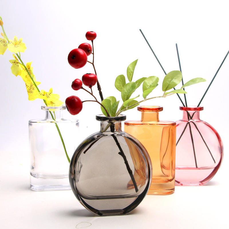Hot Nordic Crystal Small Color Glass Bottle Vase for Home Bar Decoration