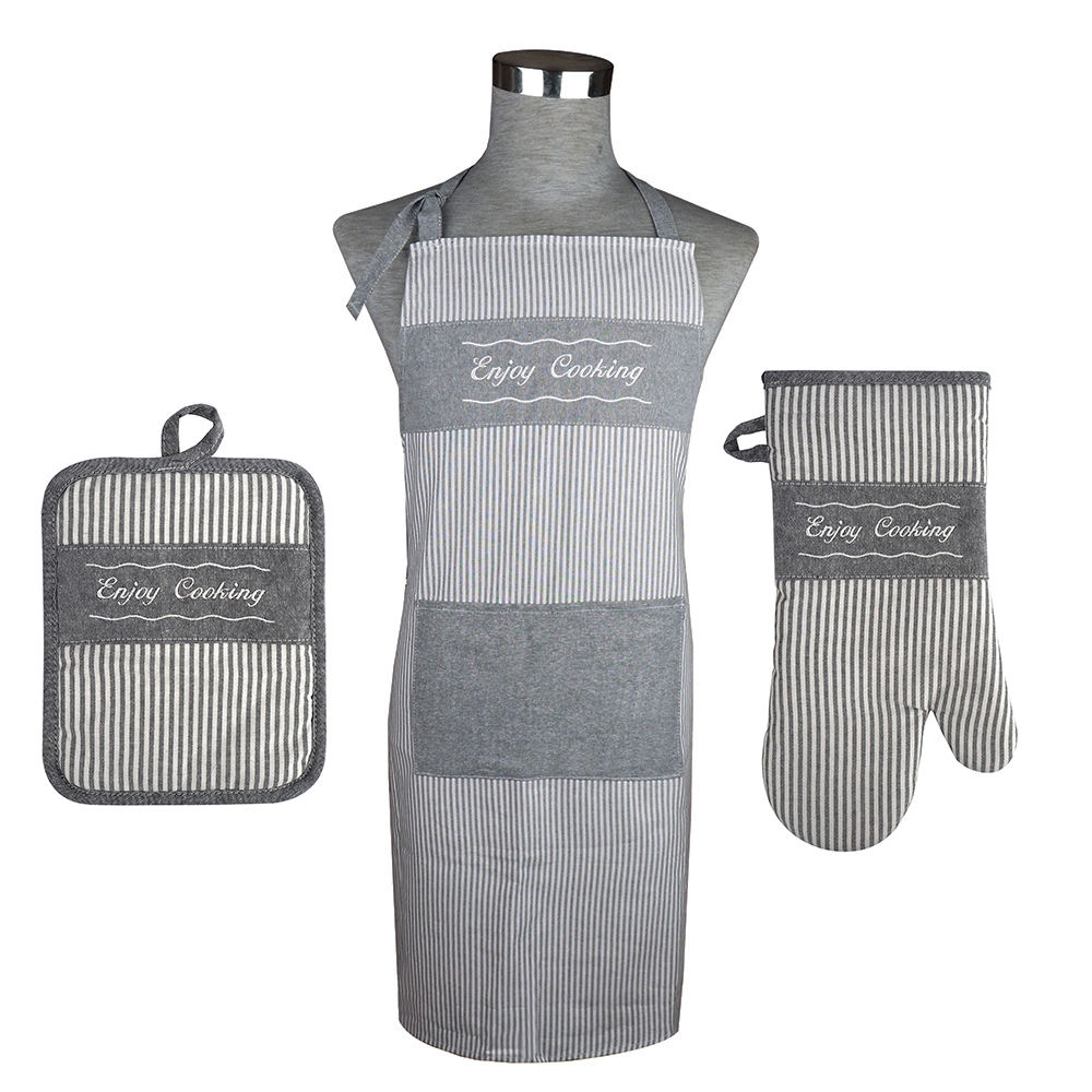 Top Quality Kitchen Linen Apron Set include Pot Holder and Oven Mitt With Kitchen Cotton Apron in 3 Piece Set